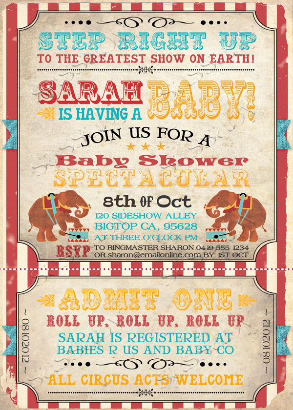 Circus Baby Shower Invitation Unique Vintage Circus Baby Invitation Aqua