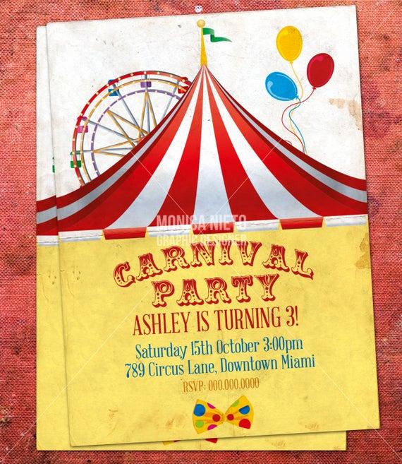 Circus Invitation Template Free Beautiful Custom Printable Carnival Circus Birthday Invitation Retro