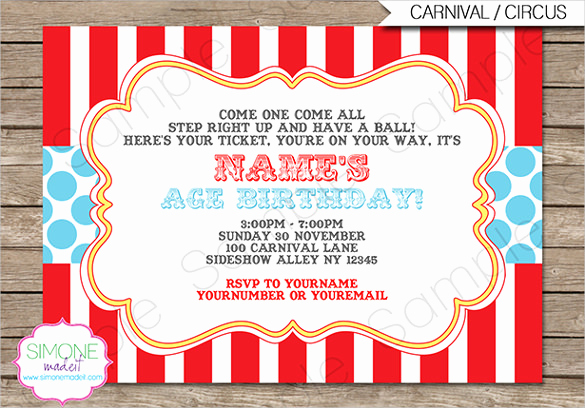 Circus Invitation Template Free Best Of Circus Party Invitation Template – 23 Free Jpg Psd