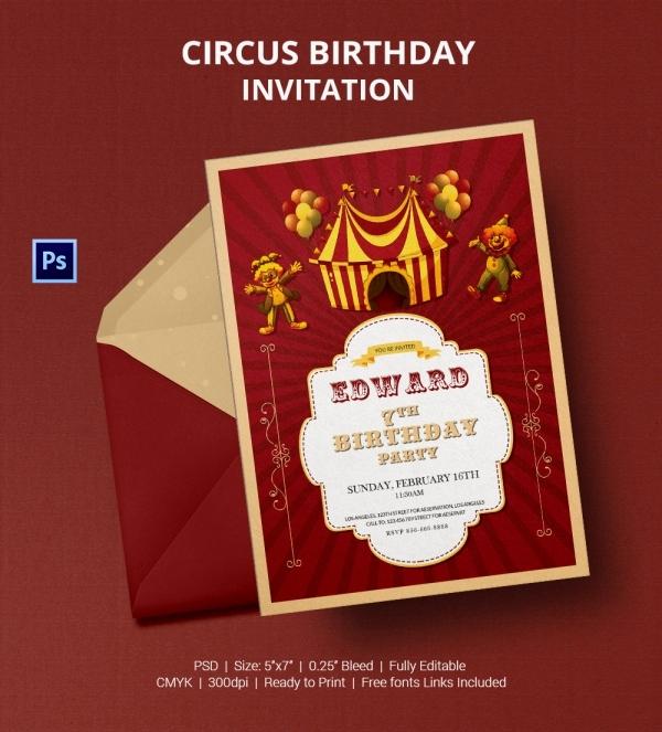Circus Invitation Template Free Elegant 25 Circus Party Invitation Templates Jpg Psd