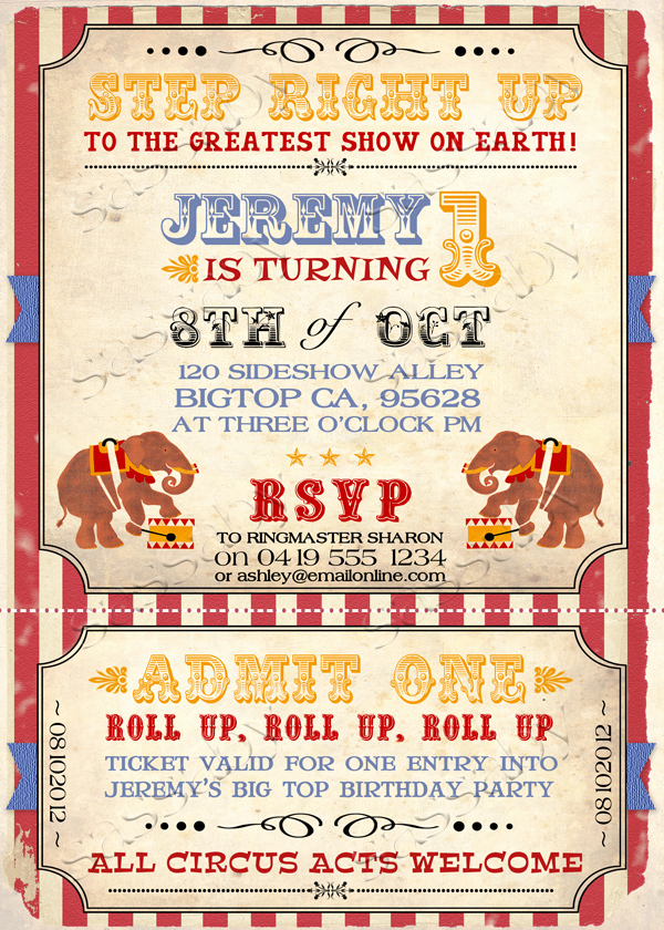 Circus Invitation Template Free Fresh Vintage Circus Invitation