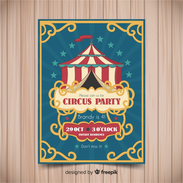 Circus Invitation Template Free Inspirational Vintage Circus Party Invitation Card Template Vector