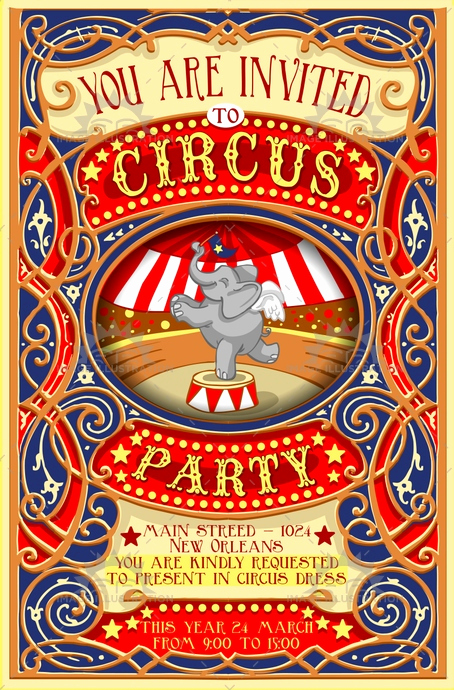 Circus Invitation Template Free Lovely Circus Party Invitation Vintage Image Illustration