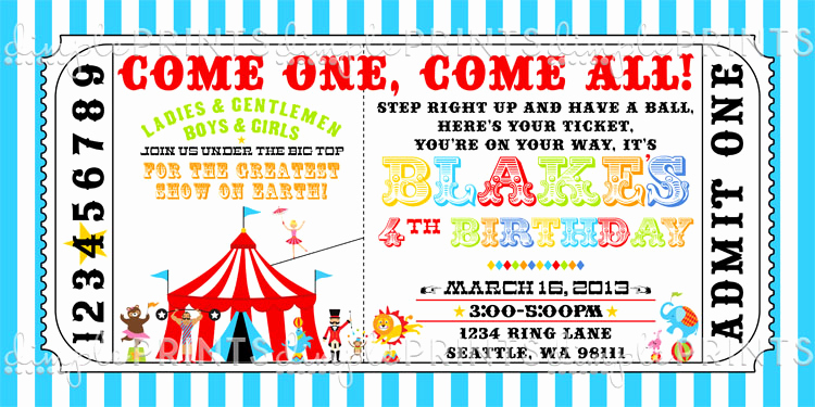 Circus Invitation Template Free Luxury Circus Train Ticket Birthday Invitation Dimple Prints Shop
