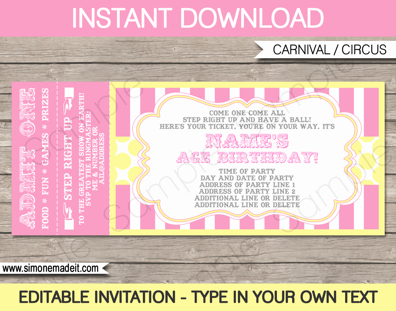 Circus Invitation Template Free New Carnival Birthday Ticket Invitations Template