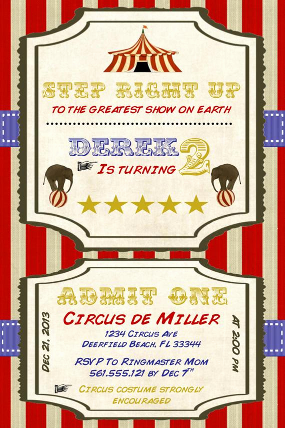 Circus Invitation Template Free New Circus Birthday Invitation Template