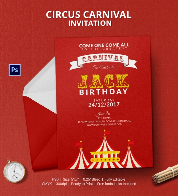 Circus Invitation Template Free Unique 25 Circus Party Invitation Templates Jpg Psd