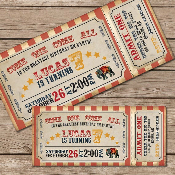 Circus Ticket Invitation Template Free Awesome Circus Invitation Vintage Circus Ticket by Littlemountaintop