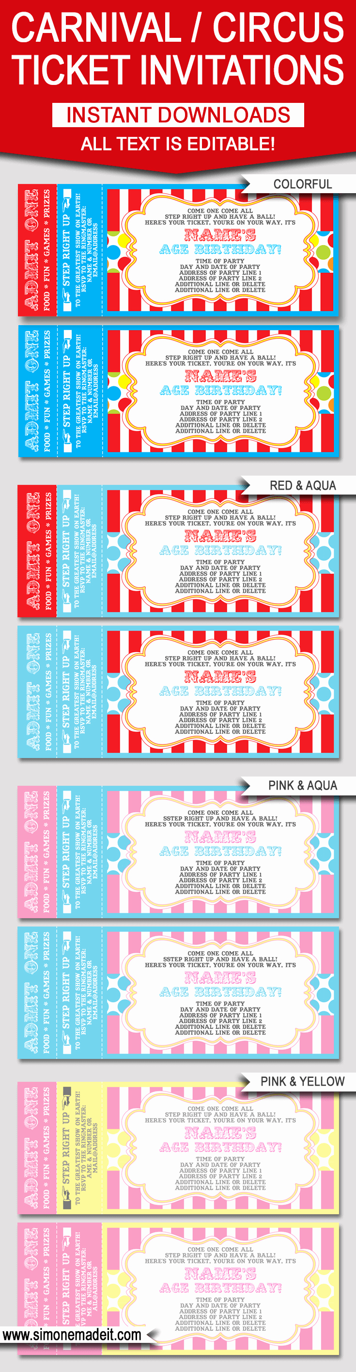 Circus Ticket Invitation Template Free Awesome Editable Carnival Ticket Invitations