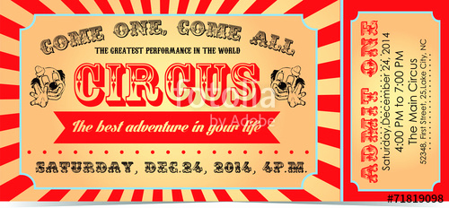 """Circus Ticket Invitation Template Free Awesome """"circus Ticket"""" Stock Image and Royalty Free Vector Files"""