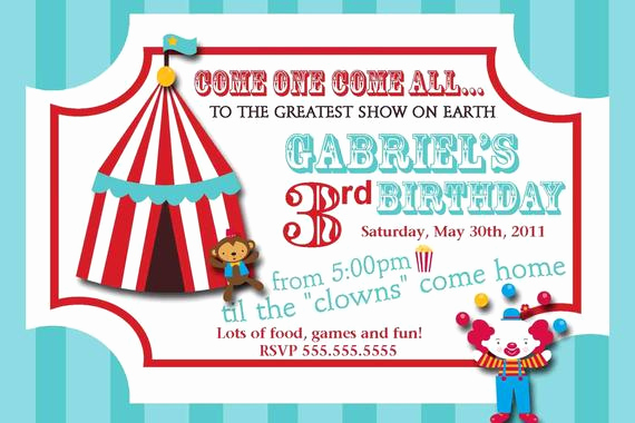 Circus Ticket Invitation Template Free Best Of Carnival Circus Ticket Birthday Invitation