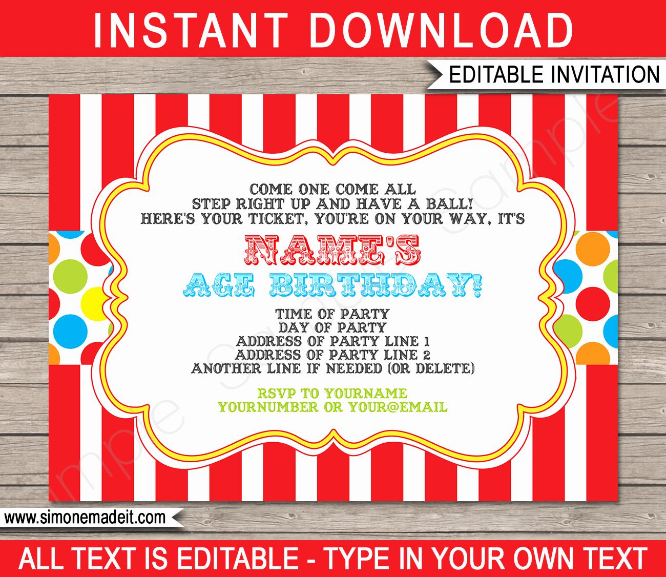 Circus Ticket Invitation Template Free Elegant Carnival Invitation Template