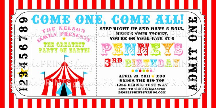 Circus Ticket Invitation Template Free Fresh Circus Tent Ticket Printable Invitation Dimple Prints Shop