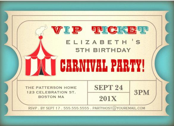 Circus Ticket Invitation Template Free Inspirational 27 Carnival Birthday Invitations Free Psd Vector Eps