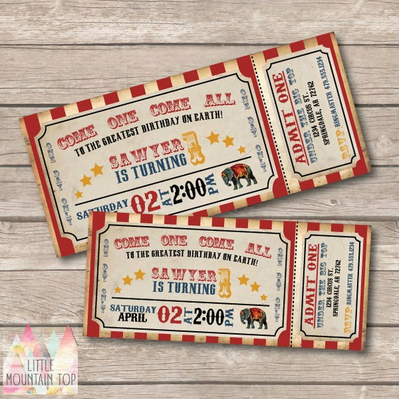Circus Ticket Invitation Template Free Lovely Circus Invitation Circus Birthday Invitation Circus Party