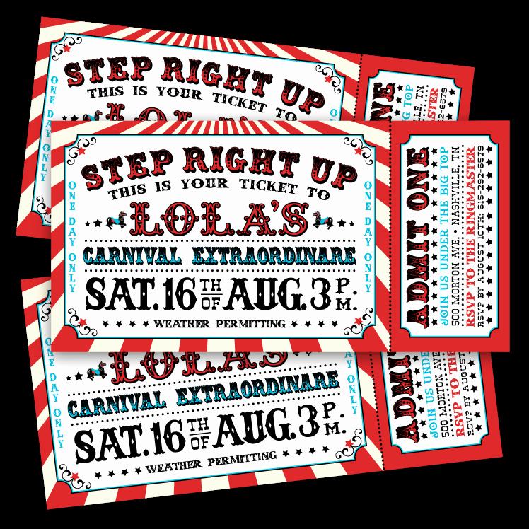 Circus Ticket Invitation Template Free Lovely Vintage Carnival Ticket Invitations – Ian & Lola Design