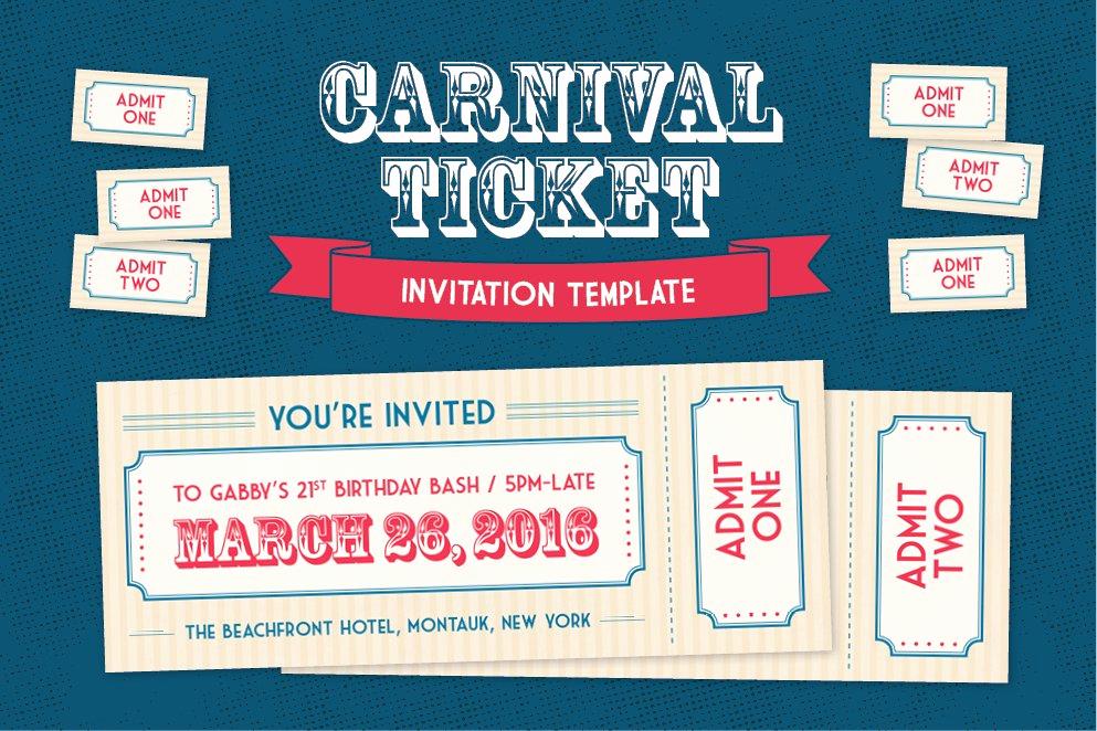 Circus Ticket Invitation Template Free Luxury Carnival Ticket Invitation Template Invitation Templates