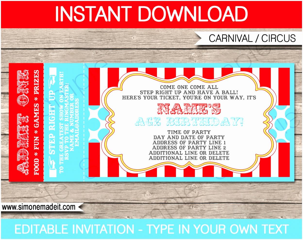 Circus Ticket Invitation Template Free Unique 12 Carnival Ticket Invitation Template Prwtv