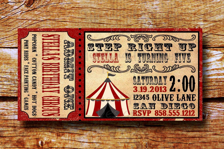Circus Ticket Invitation Template Free Unique Vintage Circus Invitation Birthday Circus Invitation