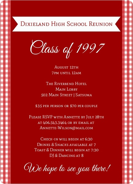 Class Reunion Invitation Ideas Inspirational Red and White Checkered Class Reunion Invitation