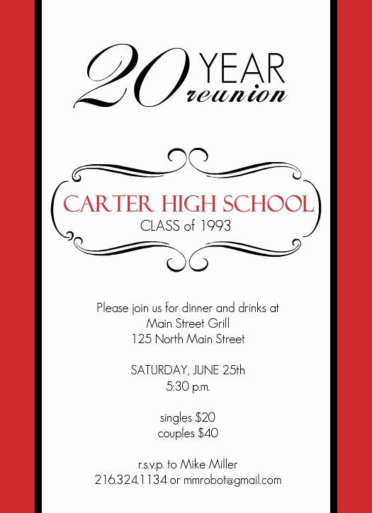 Class Reunion Invitation Templates Awesome Reunion Invitations Classic Red and White 20 Year Class