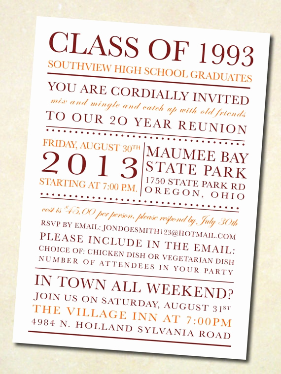 Class Reunion Invitation Templates Free Awesome Items Similar to School Colors Class Reunion Invitation