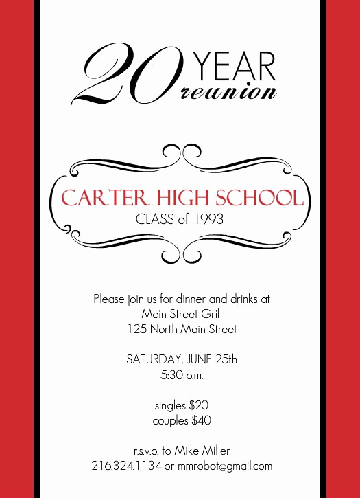 Class Reunion Invitation Templates Free Awesome Reunion Invitations Classic Red and White 20 Year Class