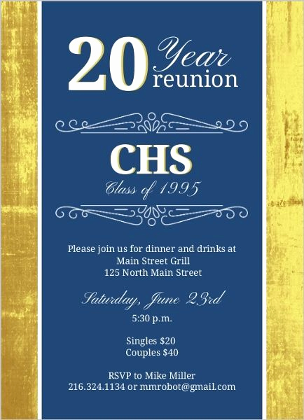 Class Reunion Invitation Templates Free Best Of Classic Colors 20 Year Class Reunion Invitation