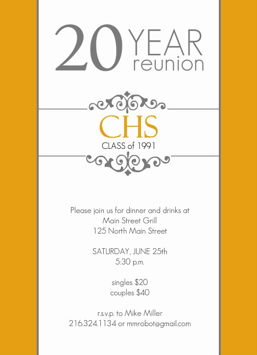 Class Reunion Invitation Templates Free Luxury Classic Colors 20 Year Class Reunion Invitation by