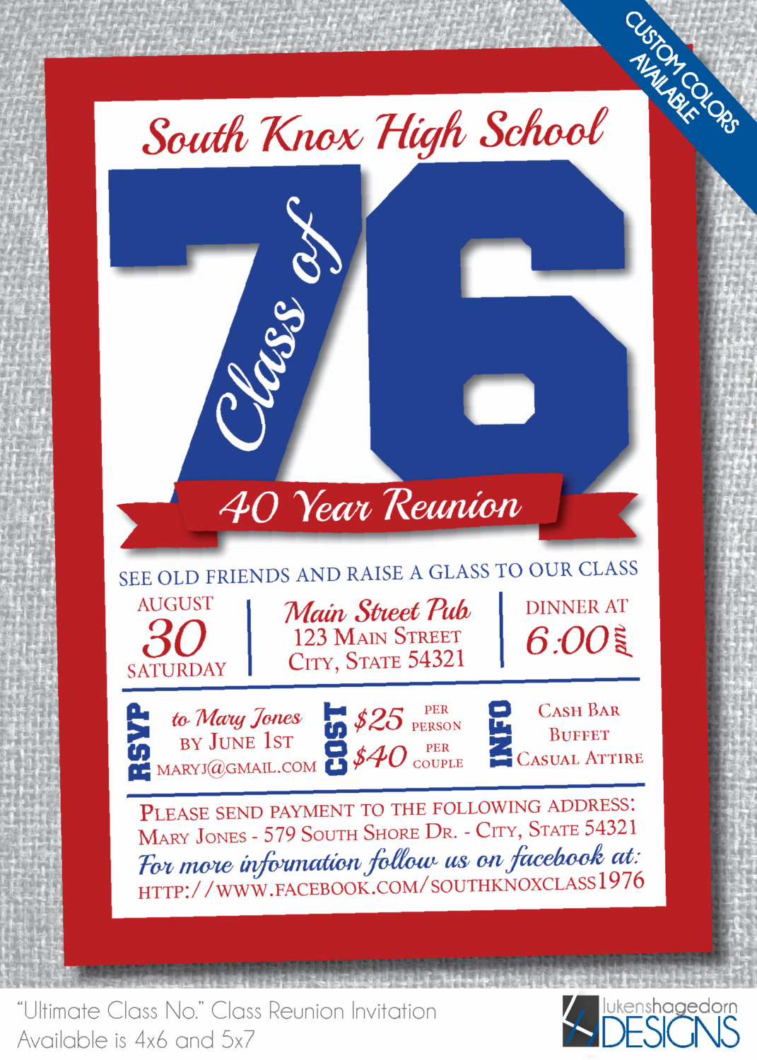 Class Reunion Invitation Templates Free Unique Class Reunion Invitation Custom School Colors Digital File