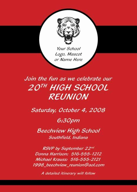 Class Reunion Invitation Templates Fresh Reunion Party Invitation Red Reunion
