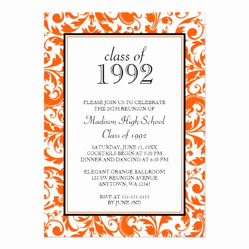 "Class Reunion Invitation Templates Lovely orange Black Swirl Damask Class Reunion Invitation 5"" X 7"