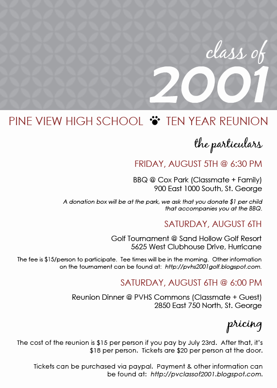 Class Reunion Invitation Templates Luxury Pine View Class Of 2001 Reunion Invite