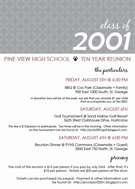 Class Reunion Invitation Templates Luxury Pine View Class Of 2001 Reunion Invite