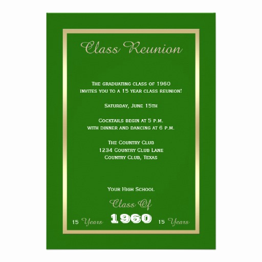 "Class Reunion Invitation Templates Unique Class Reunion Invitations Any Year Invitation 5"" X 7"