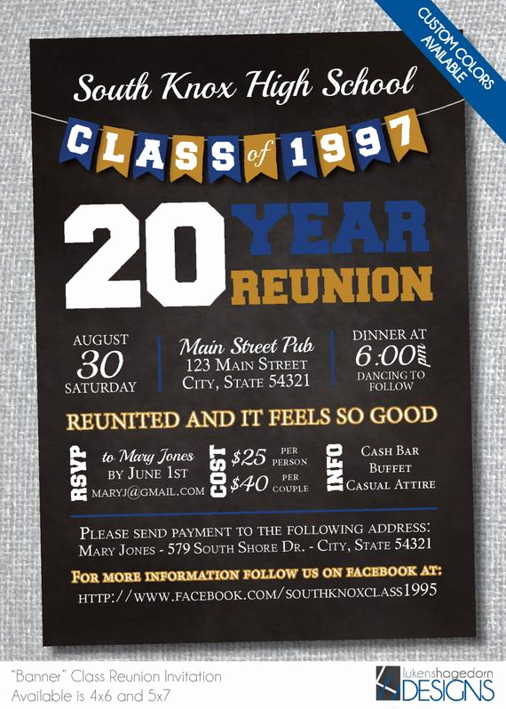 Class Reunion Invitation Wording Awesome Chalkboard Class Reunion Invitation with Banner Digital File