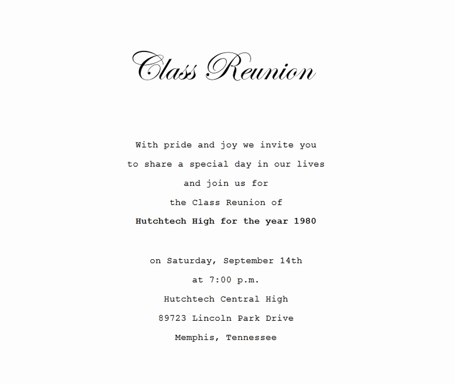 Class Reunion Invitation Wording Awesome Class Reunion Invitation 4 Wording