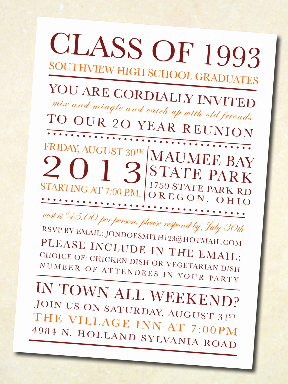 Class Reunion Invitation Wording Beautiful School Colors Class Reunion Invitation Digital by