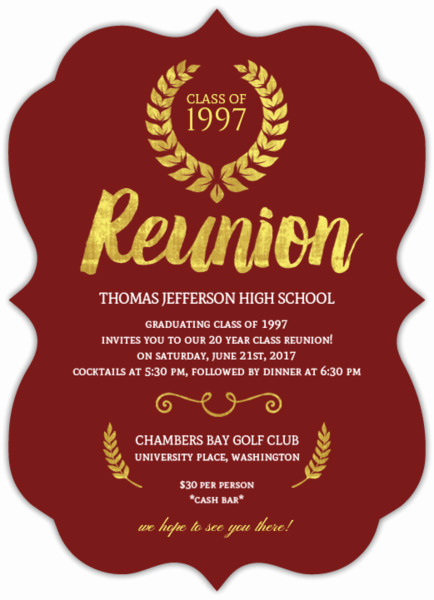 Class Reunion Invitation Wording Best Of Beautiful Faux Gold Foil Class Reunion Invitation