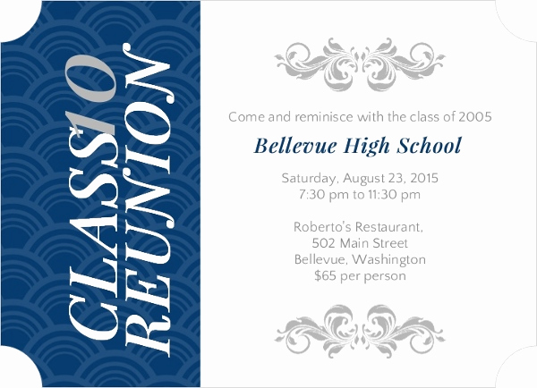 Class Reunion Invitation Wording Fresh Vertical Blue Stripe High School Reunion Invitation