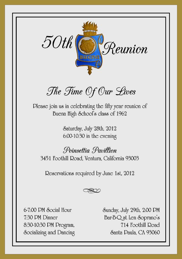 Class Reunion Invitation Wording Inspirational Buena50 Reunion Invitation 600×853 Pixels