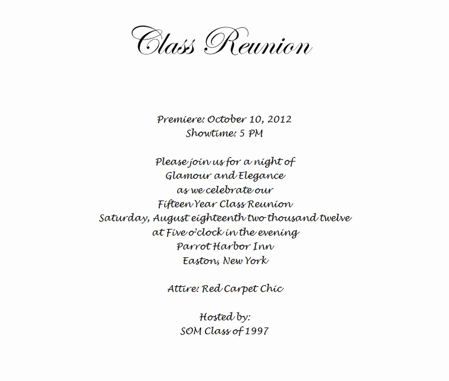 Class Reunion Invitation Wording Lovely Class Reunion Free Suggested Wording by theme