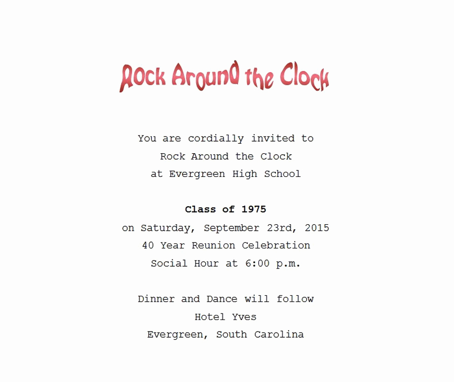 Class Reunion Invitation Wording New Class Reunion Free Suggested Wording by theme