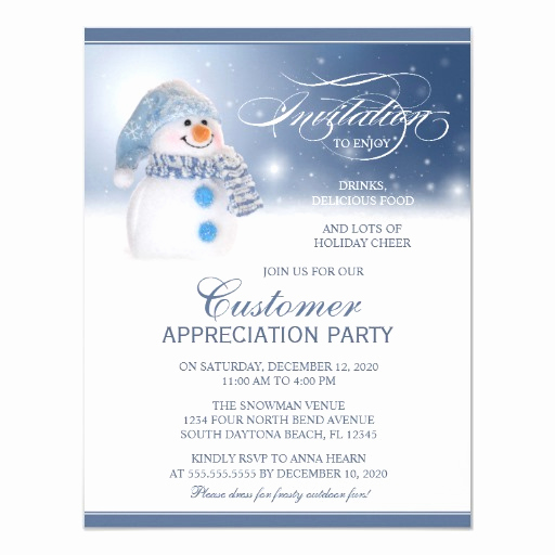 Client Appreciation event Invitation Inspirational Snowman Customer Appreciation Party Invitation