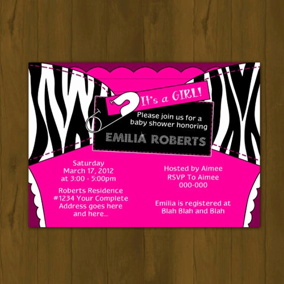 Cloth Diaper Baby Shower Invitation Fresh Hot Pink and Zebra Stripes Diaper Baby by Splashboxprintables