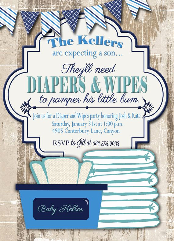 Cloth Diaper Baby Shower Invitation Lovely Baby Shower Invitation Diaper and Wipes Baby by