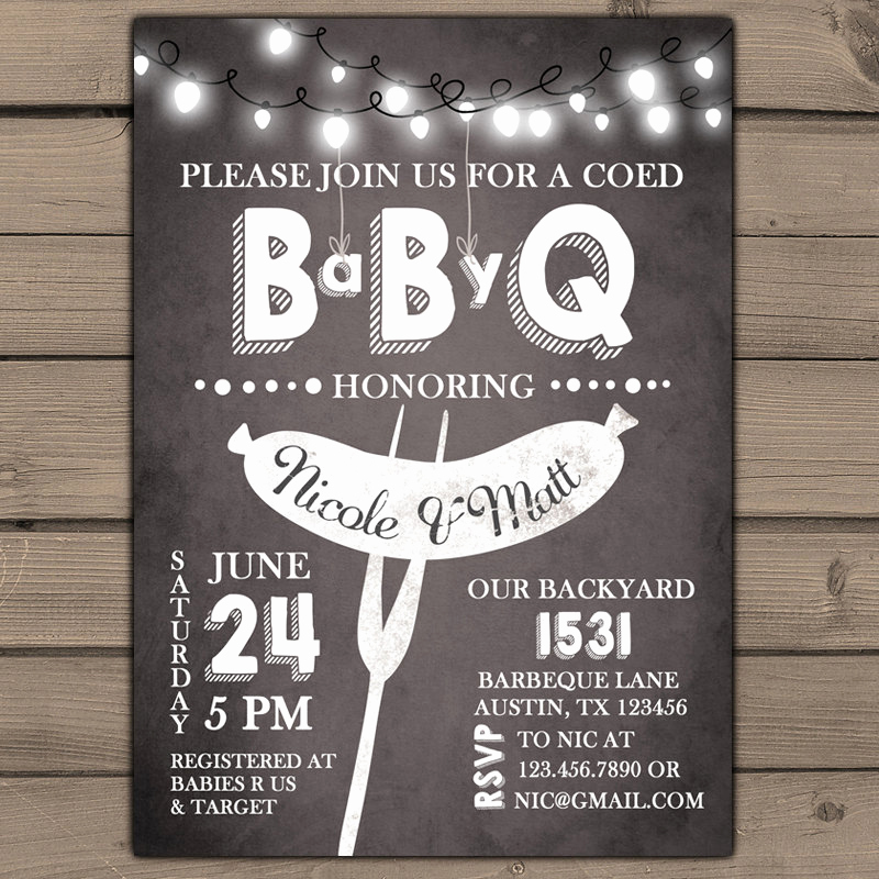 Co Ed Baby Shower Invitation Awesome Baby Q Invitation Coed Baby Shower Invite Bbq Invitation Co Ed