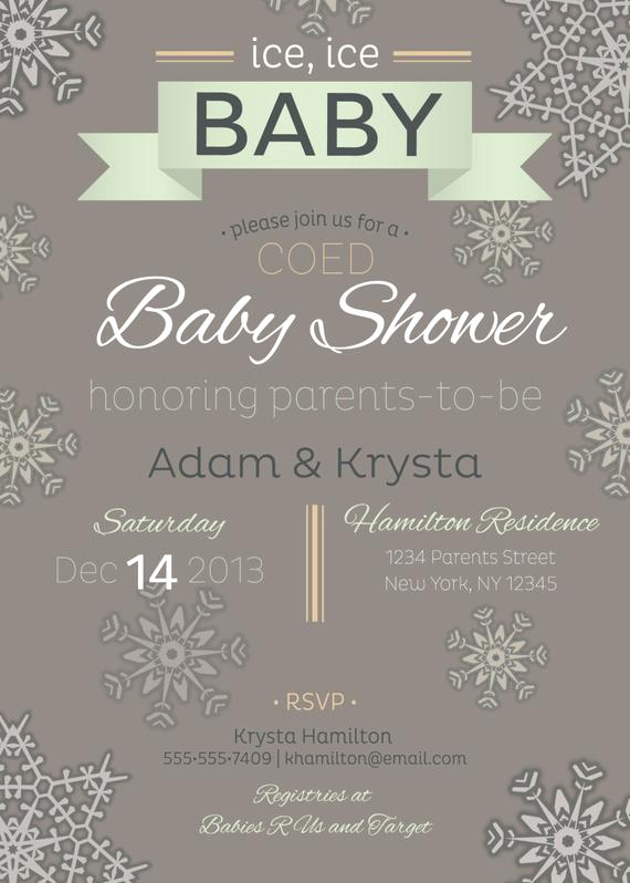 Co Ed Baby Shower Invitation Awesome Items Similar to Printable Co Ed Optional Winter Baby