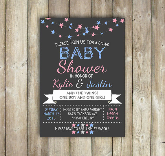 Co Ed Baby Shower Invitation Beautiful Items Similar to Twins Co Ed Baby Shower Invitation Stars