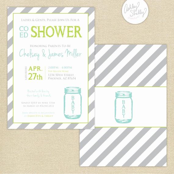 Co Ed Baby Shower Invitation Elegant Co Ed Baby Shower Mason Jar and Stripes Invitation